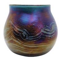 Vintage American Studio Glass Iridescent Vase