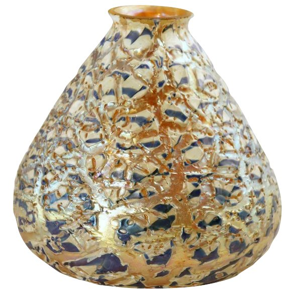 Durand Art Glass Company: Large American Durand Art Glass Moorish Crackle Lamp Shade