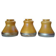 Set of Three American Steuben Carder Period Glass Intarsia Border Lamp Shades