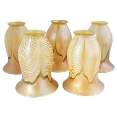 Set of Five American Art Nouveau Pulled Feather Glass Lamp Shades