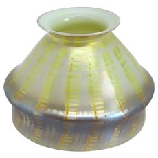 American Tiffany Studios Favrile Glass Yellow Zipper Pattern Candle Lamp Shade