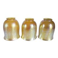 Set of Three American Tiffany Studios Gold King Tut Glass Lamp Shades