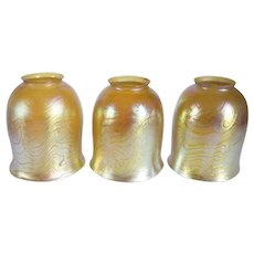 Set of Three American Tiffany Studios Gold King Tut Glass Lamp Shades
