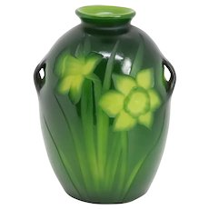 American Tiffany Studios Carved Glass Green Daffodil Cabinet Vase