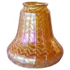 American Quezal Art Nouveau Gold Glass Ribbed Ribbon Decoration Lamp Shade