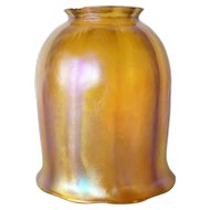 American Tiffany Studios Favrile Glass Gold Tulip Lamp Shade