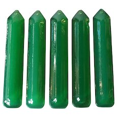 Set of 5 American Tiffany Studios Mottled Green Glass Chandelier Prisms