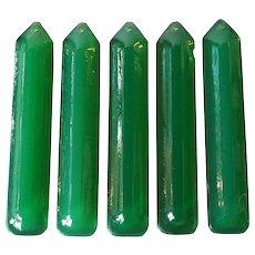 Set of 5 American Tiffany Studios Mottled Green Glass Chandelier Prisms