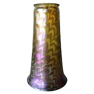 Large American Art Nouveau Iridescent Glass Snakeskin Pattern Lamp Shade