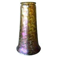 Large American Art Nouveau Iridescent Glass Snakeskin Pattern Lamp Shade