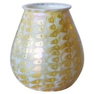 Rare American Quezal Glass Gold Zipper Pattern Candle Shade