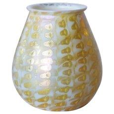 Rare American Quezal Glass Gold Zipper Pattern Candle Shade