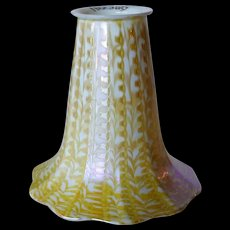 American Quezal Glass Opalescent Gold Zipper Pattern Lamp Shade