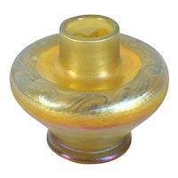 American Tiffany Studios Gold Iridescent Favrile Glass Cabinet Vase