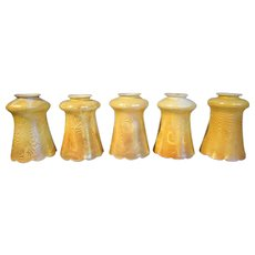 Set of 10 American Steuben Art Glass King Tut Lamp Shades