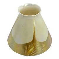 American Tiffany Studios Favrile Glass Gold Hooked Feather Candle Lamp Shade