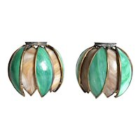 Pair American Handel Art Nouveau Brass and Curved Opalescent Glass Pond Lily Shades