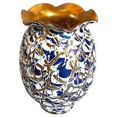 American Durand Art Glass Moorish Crackle Torchiere Lamp Shade