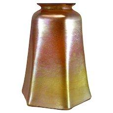 American Tiffany Studios Gold Favrile Glass Hexagonal Lamp Shade