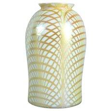 American Lustre Art Glass Gold Fishnet Pattern Lamp Shade