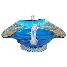French Enameled Hand Blown Blue Glass Fruit Basket Center Bowl