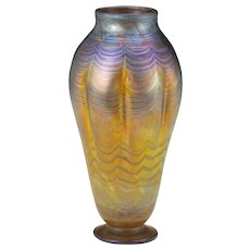 Rare American Tiffany Studios Favrile Glass Peacock Iridescent Vase