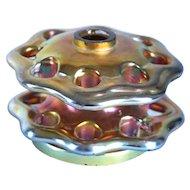 American Steuben Glass Iridescent Gold Aurene Flower Frog