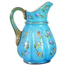 French Floral Enamel Blue Cased Glass Pitcher