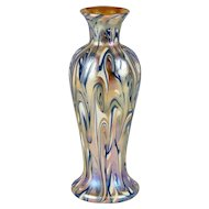 Fine American Durand Glass King Tut Three-Color Baluster Vase