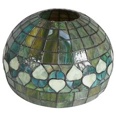 American Green Leaded Glass Acorn Pattern Dome Lamp Shade