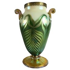 American Art Nouveau Iridescent Glass Pulled Green Hooked Feather Metal Mounted Vase