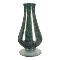 American Nash Iridescent Teal Chintz Decorated Glass Vase