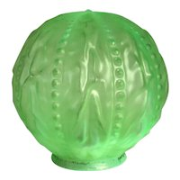 American Consolidated Opalescent Green Glass Beaded Drape Pattern Globe Lamp Shade