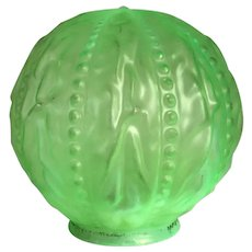 American Consolidated Opalescent Green Uranium Glass Beaded Drape Pattern Globe Lamp Shade