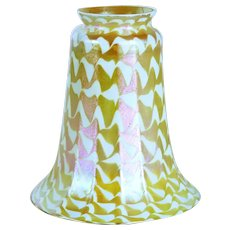 American Art Nouveau Glass Gold Ribbed Iridescent Lamp Shade