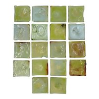 Set of 18 American Tiffany Glass & Decorating Co. Green Glass Square Fireplace Tiles