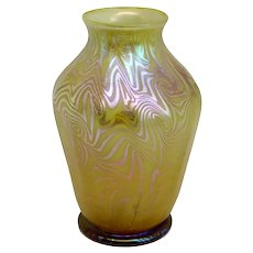 Small American Tiffany Studios Favrile Glass Gold King Tut Vase