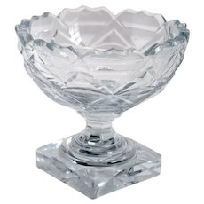 Small English Georgian Style Cut Glass Footed Salt Dish