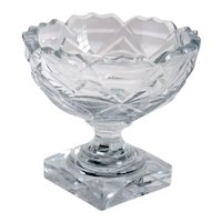 Small English Victorian Cut Glass Pedestal Salt Dish