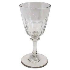 English Georgian Petal Cut Knop Stem Wine Glass