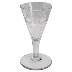 English Georgian Engraved Petal Cut Drinking Glass