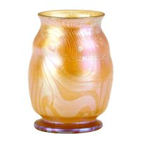 Small American Tiffany Studios Favrile Glass Iridescent Gold Cabinet Vase