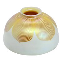 American Steuben Glass Gold Dragged Loop Lamp Shade