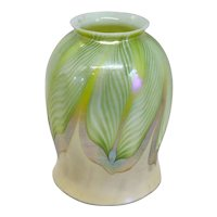 American Tiffany Studios Favrile Glass Green Pulled Feather Lamp Shade