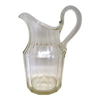 Large Early American Blown Glass Slab Cut Pitcher Jug