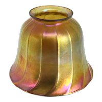American Tiffany Studios Favrile Glass Iridescent Gold Ribbed Candlestick Lamp Shade
