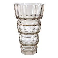 Large Bohemian Josef Hoffmann for Moser Art Deco Faceted Clear Glass Vase