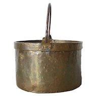 Large English Victorian Brass Iron Handle Cooking Urn