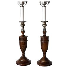 Pair Of Arts & Crafts Bronze Candlesticks On Wooden Bases Period 100% Original Art