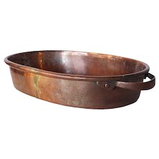 English Copper and Brass Oval Cooking Pan